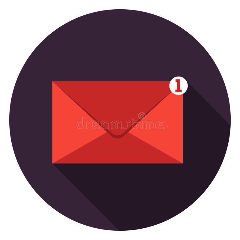 Mail icon in flat design. Mail icon. Illustration in flat style. Round icon with long shadow stock illustration