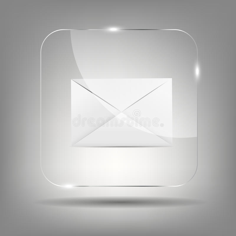 Mail Icon in Glass Button Vector Illustration royalty free illustration