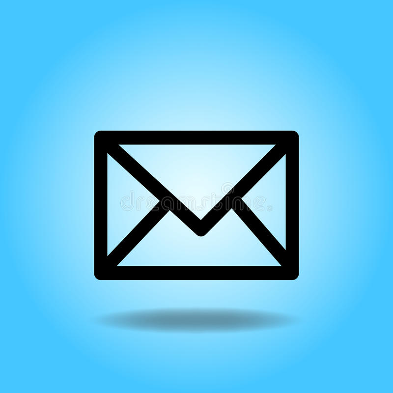 Mail Icon. Image of a mail icon against a colorful blue background vector illustration