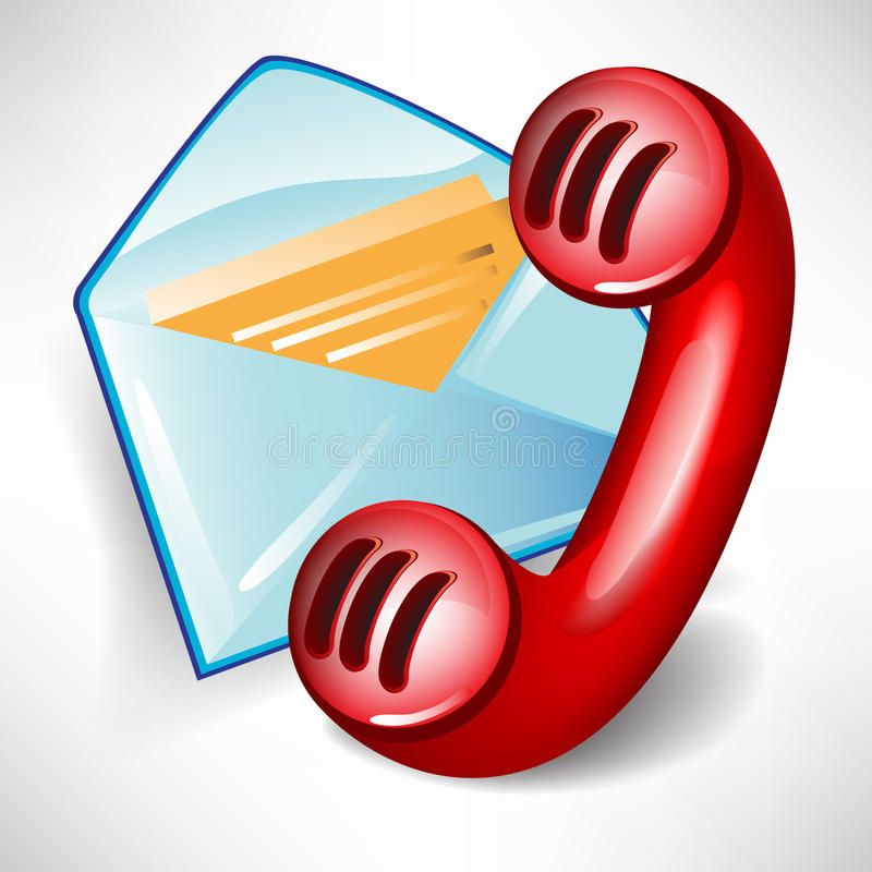 Mail icon and red telephone vector illustration