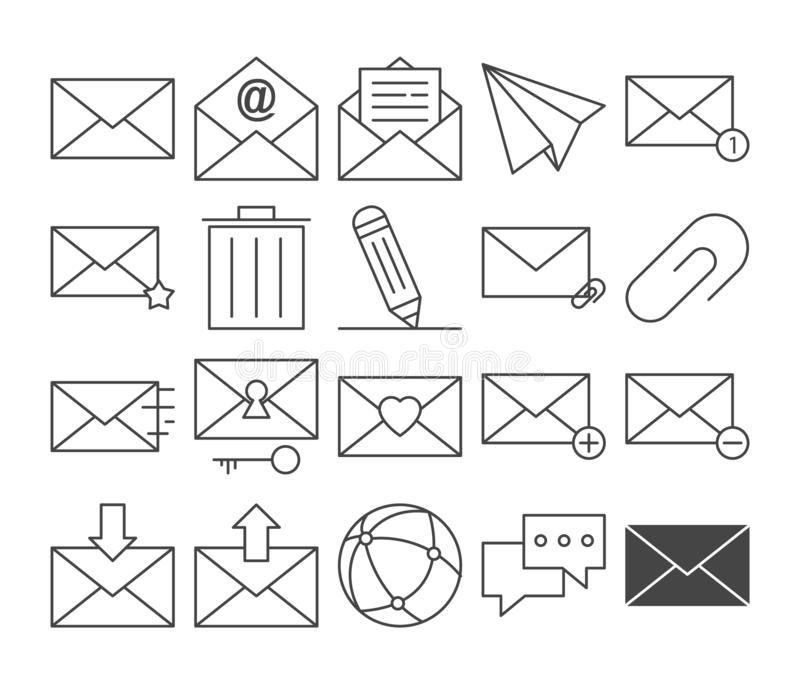 Email Message Icon Vector  Line Open Mail Symbol  Stock Vector