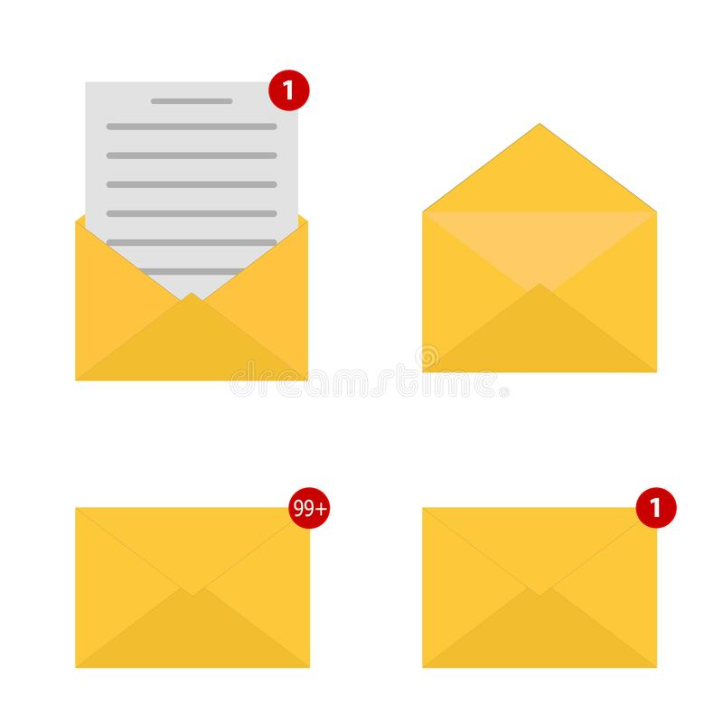 Mail icon set. Envelope sign. One incoming message. New email notification. Open and read message. Vector illustration. Eps10 royalty free illustration
