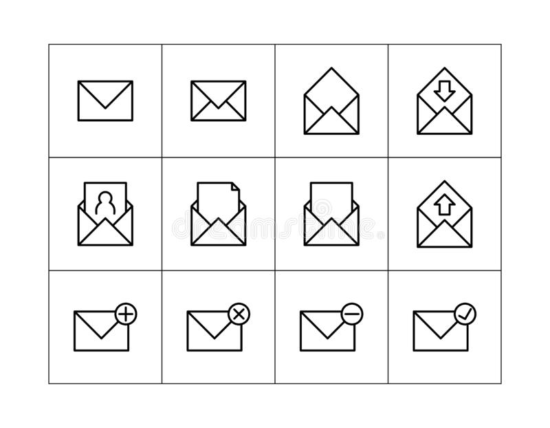 Mail icon. Set of mail icons. communications icons. contact us icons.  royalty free illustration