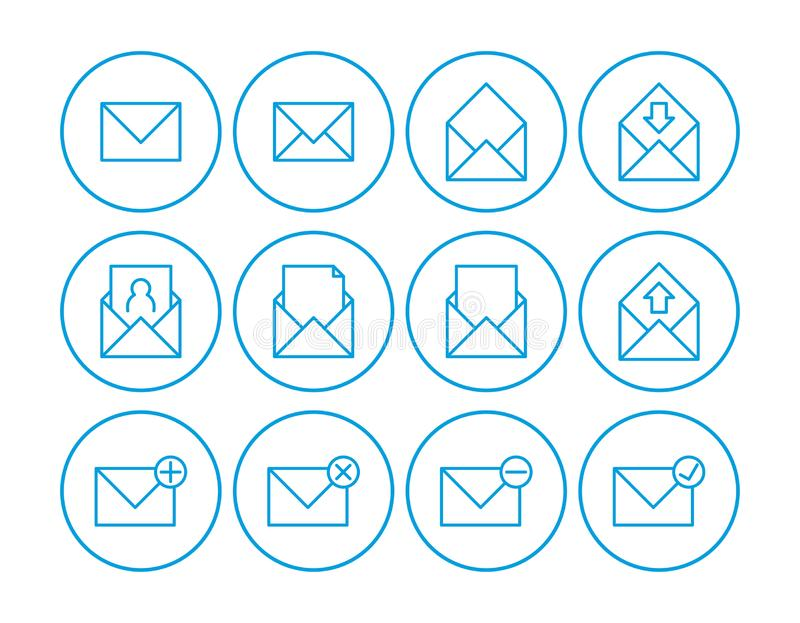 Mail icon. Set of mail icons. communications icons. contact us icons.  vector illustration