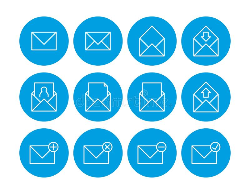 Mail icon. Set of mail icons. communications icons. contact us icons.  stock illustration