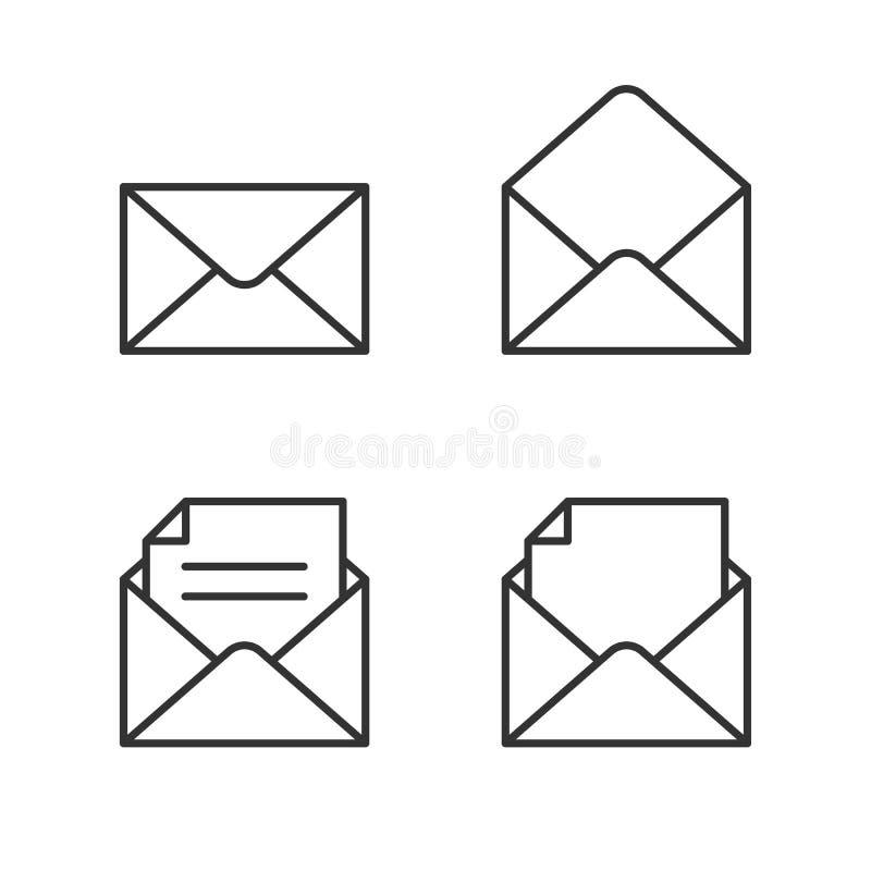 Mail icon set. Mail outline icon set on white background stock illustration