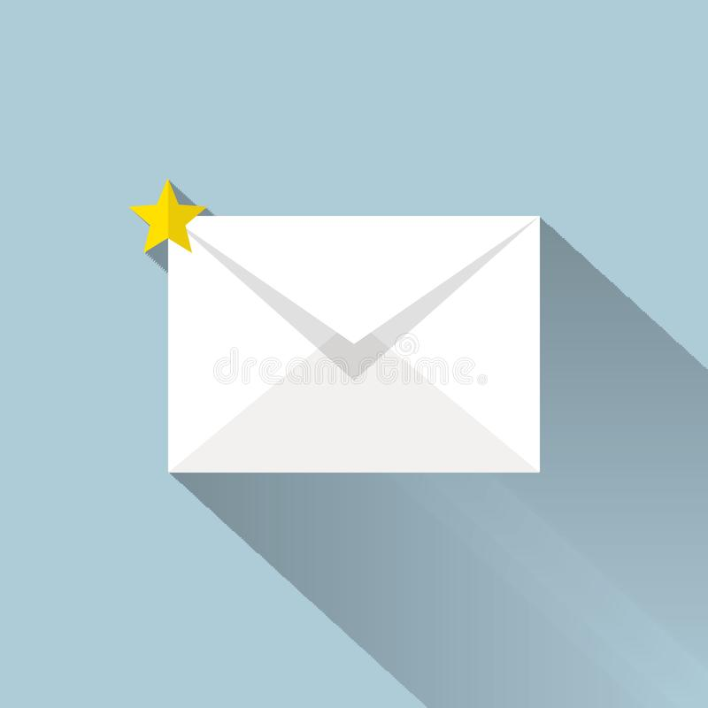 Mail icon, vector illustion flat design style. royalty free illustration