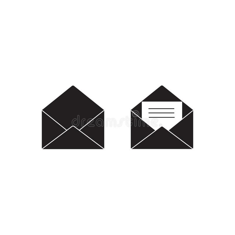 Mail icon. Vector illustration isolated on white background. Set of two open envelopes empty and with letter. stock illustration
