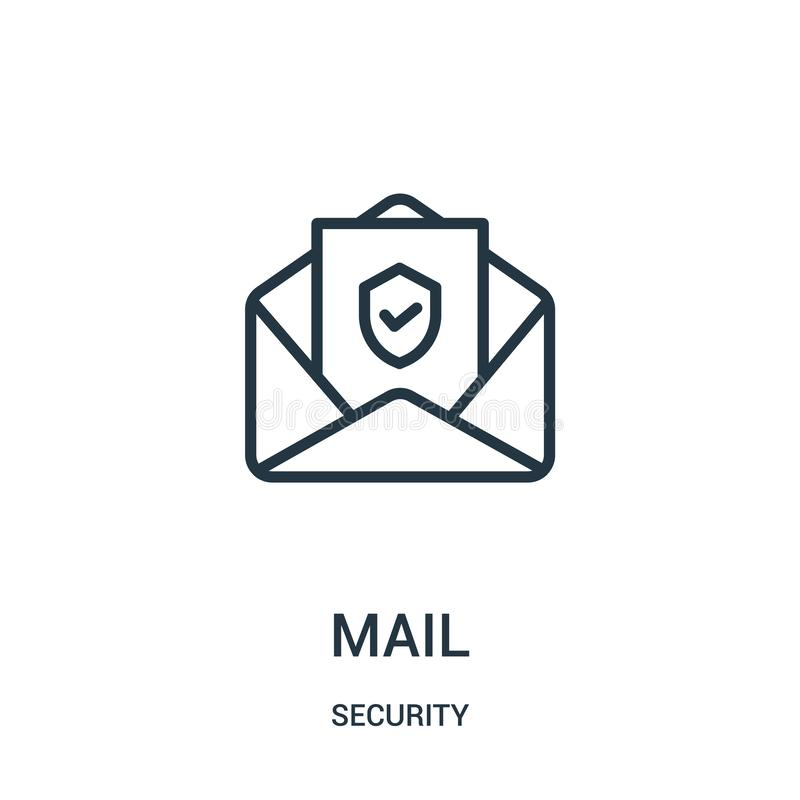mail icon vector from security collection. Thin line mail outline icon vector illustration. Linear symbol stock illustration