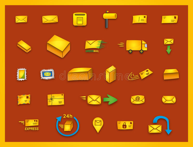 27 mail icons - Hand drawn coloured vector graphics. Hand drawn mailing icons, e.g. for transport business and modern design stock illustration