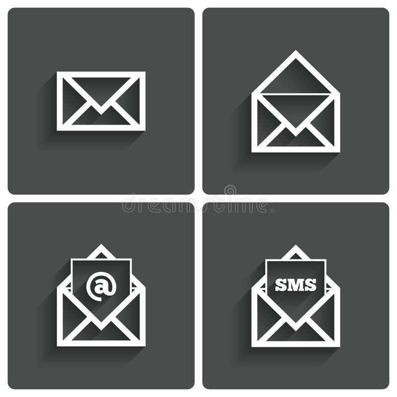 Mail icons. Mail sms symbol. At sign. Letter. Mail icons. Mail sms symbol. At sign. Letter in envelope. Set of signs for messages. illustration stock illustration
