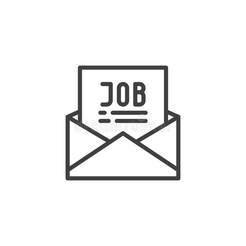 Mail with job offer outline icon stock illustration