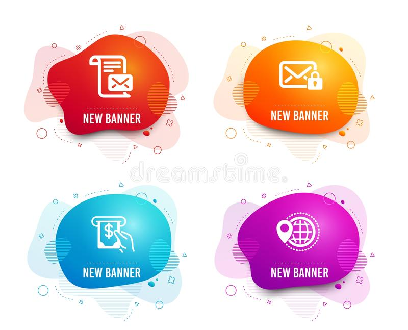 Mail letter, Atm service and Secure mail icons. World travel sign. Vector. Liquid badges. Set of Mail letter, Atm service and Secure mail icons. World travel royalty free illustration