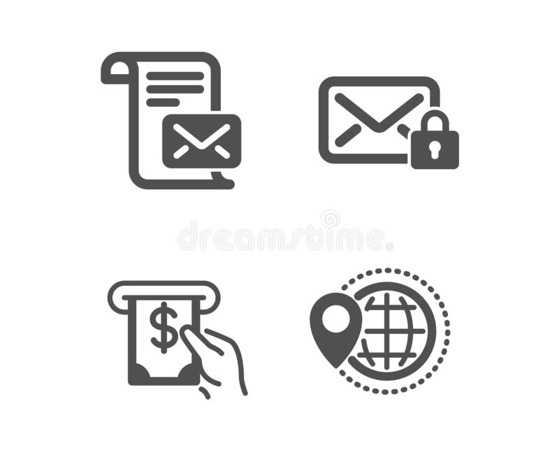 Mail letter, Atm service and Secure mail icons. World travel sign. Vector. Set of Mail letter, Atm service and Secure mail icons. World travel sign. Read e-mail stock illustration