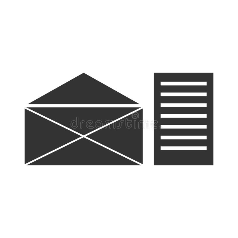 Mail letter icon flat. Mail letter. Black Icon Flat on white background stock illustration