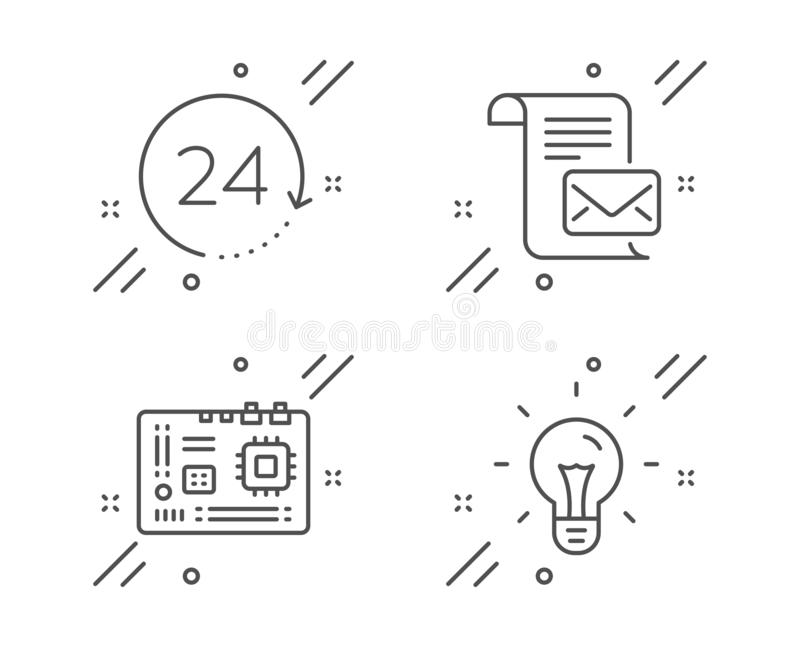 Mail letter, 24 hours and Motherboard icons set. Idea sign. Read e-mail, Time, Computer component. Light bulb. Vector. Mail letter, 24 hours and Motherboard line stock illustration