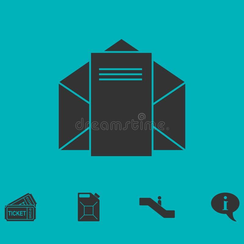 Mail letter icon flat. Simple vector symbol and bonus icon royalty free illustration