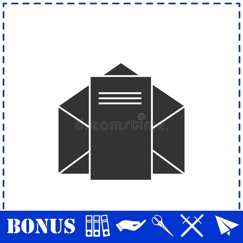 Mail letter icon flat. Simple vector symbol and bonus icon vector illustration