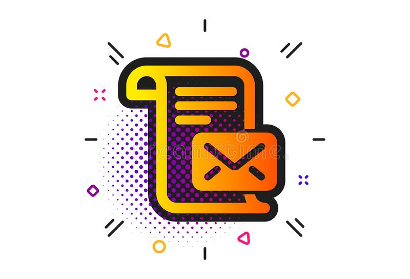Mail letter icon. Read Message correspondence sign. Vector. Read Message correspondence sign. Halftone circles pattern. Mail letter icon. E-mail symbol. Classic stock illustration