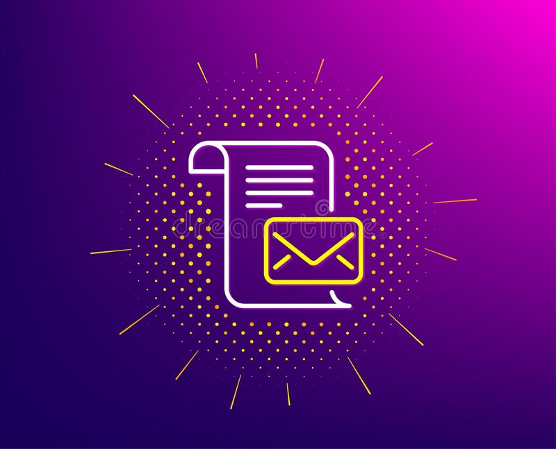 Mail letter line icon. Read Message correspondence sign. Vector. Mail letter line icon. Halftone pattern. Read Message correspondence sign. E-mail symbol vector illustration