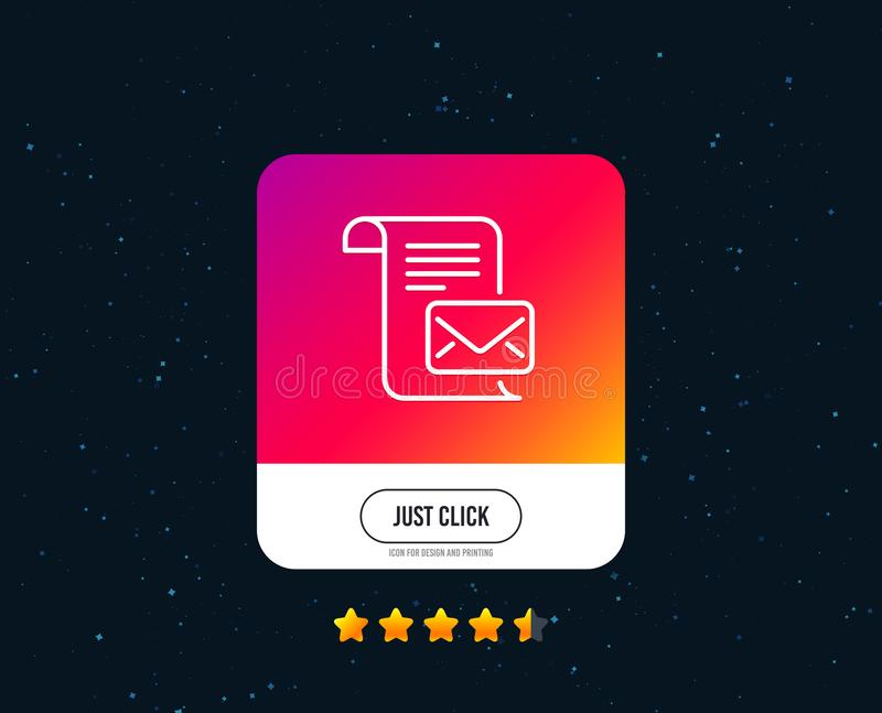 Mail letter line icon. Read Message correspondence sign. Vector. Mail letter line icon. Read Message correspondence sign. E-mail symbol. Web or internet line vector illustration
