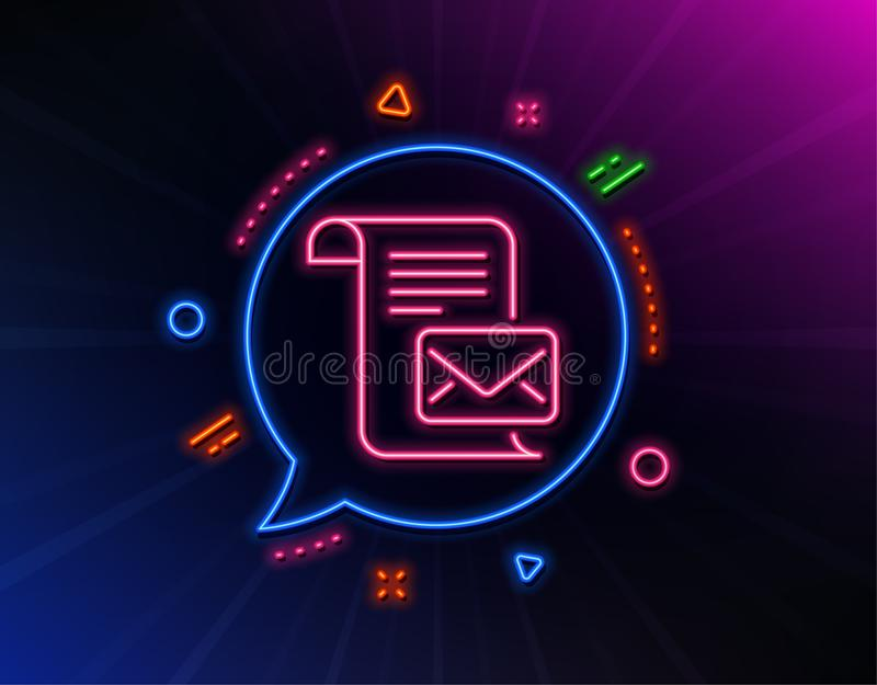 Mail letter line icon. Read Message correspondence sign. Vector. Mail letter line icon. Neon laser lights. Read Message correspondence sign. E-mail symbol. Glow stock illustration