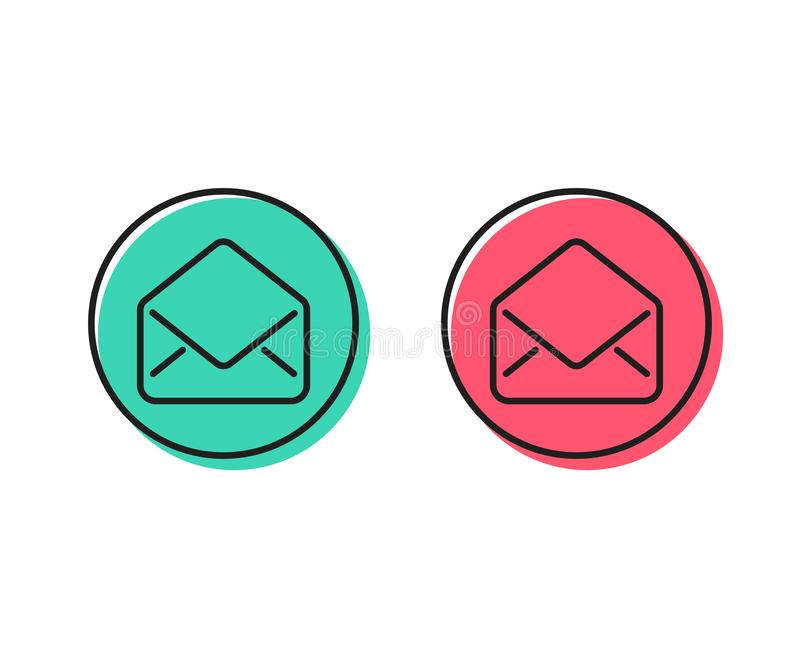 Mail line icon. Message correspondence sign. Vector. Mail line icon. Message correspondence sign. E-mail symbol. Positive and negative circle buttons concept vector illustration