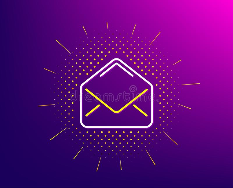 Mail line icon. Message correspondence sign. Vector. Mail line icon. Halftone pattern. Message correspondence sign. E-mail symbol. Gradient background. Mail line stock illustration