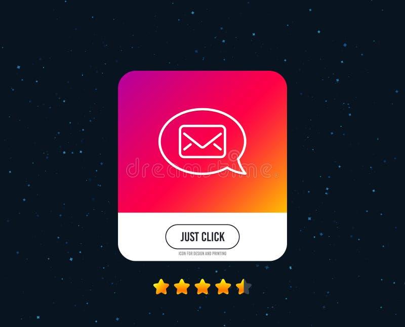 Mail line icon. Messenger communication sign. Vector. Mail line icon. Messenger communication sign. E-mail symbol. Web or internet line icon design. Rating stars royalty free illustration