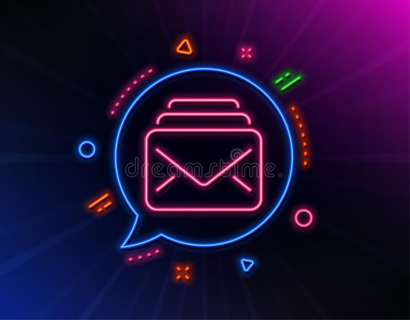 Mail line icon. New Messages correspondence sign. Vector. Mail line icon. Neon laser lights. New Messages correspondence sign. E-mail symbol. Glow laser speech stock illustration