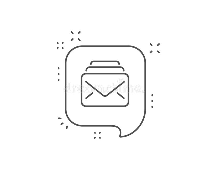 Mail line icon. New Messages correspondence sign. Vector. Mail line icon. Chat bubble design. New Messages correspondence sign. E-mail symbol. Outline concept stock illustration