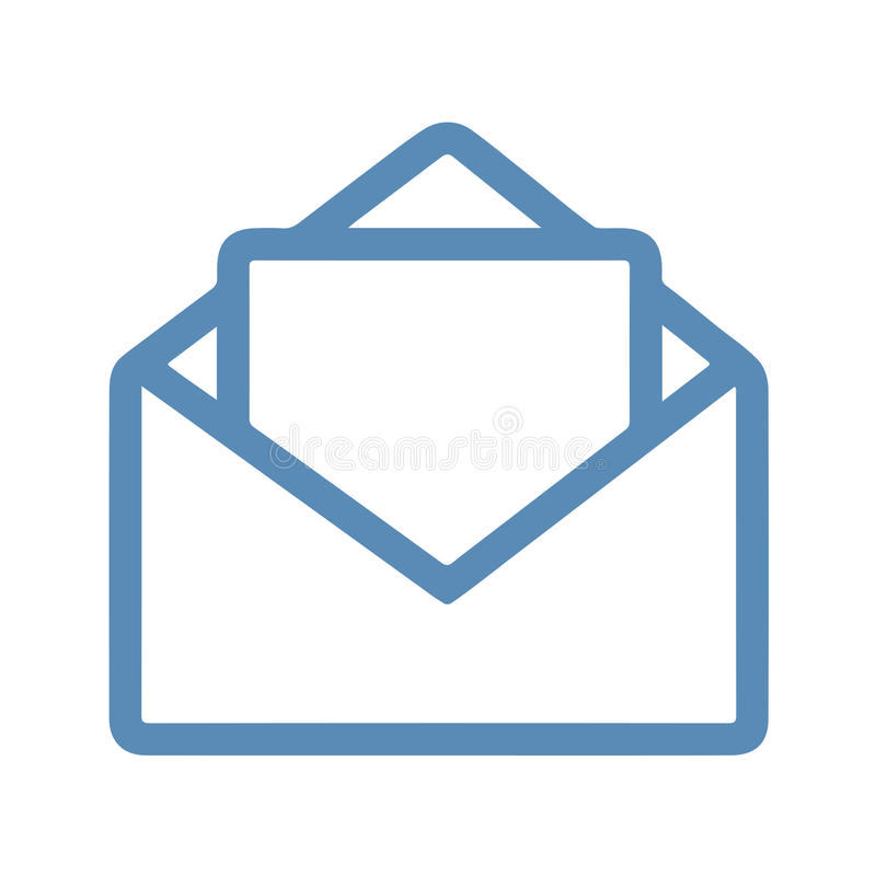 Mail Line Icon. Open mail Icon with line icon style & blue color royalty free illustration