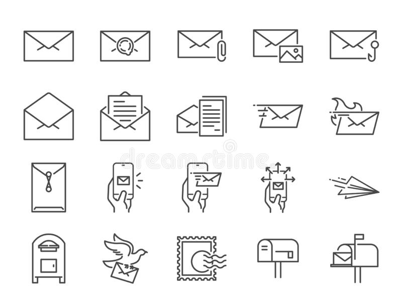 Mail line icon set. Included icons as email, dove, envelope, sent, post box and more. royalty free illustration