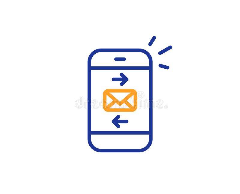 Mail line icon. Smartphone communication sign. Vector. Mail line icon. Smartphone communication symbol. Business chat sign. Colorful outline concept. Blue and stock illustration