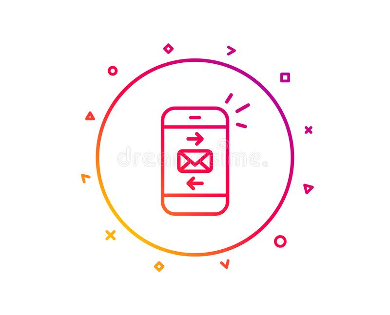 Mail line icon. Smartphone communication sign. Vector. Mail line icon. Smartphone communication symbol. Business chat sign. Gradient pattern line button. Mail royalty free illustration