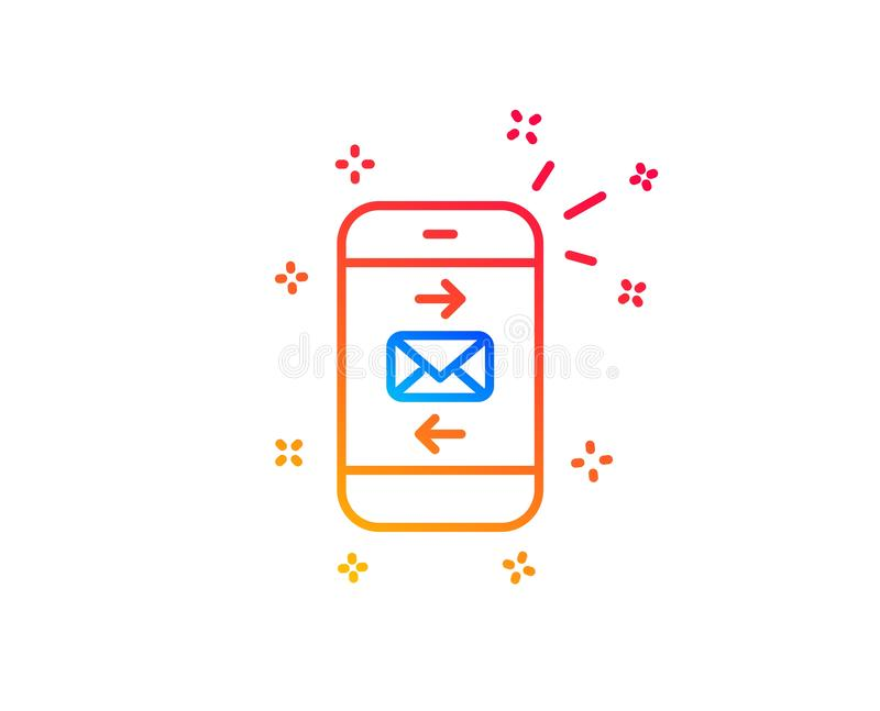 Mail line icon. Smartphone communication sign. Vector. Mail line icon. Smartphone communication symbol. Business chat sign. Gradient design elements. Linear mail vector illustration
