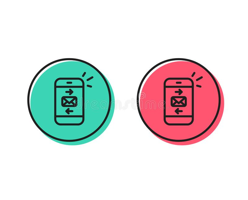 Mail line icon. Smartphone communication sign. Vector. Mail line icon. Smartphone communication symbol. Business chat sign. Positive and negative circle buttons stock illustration