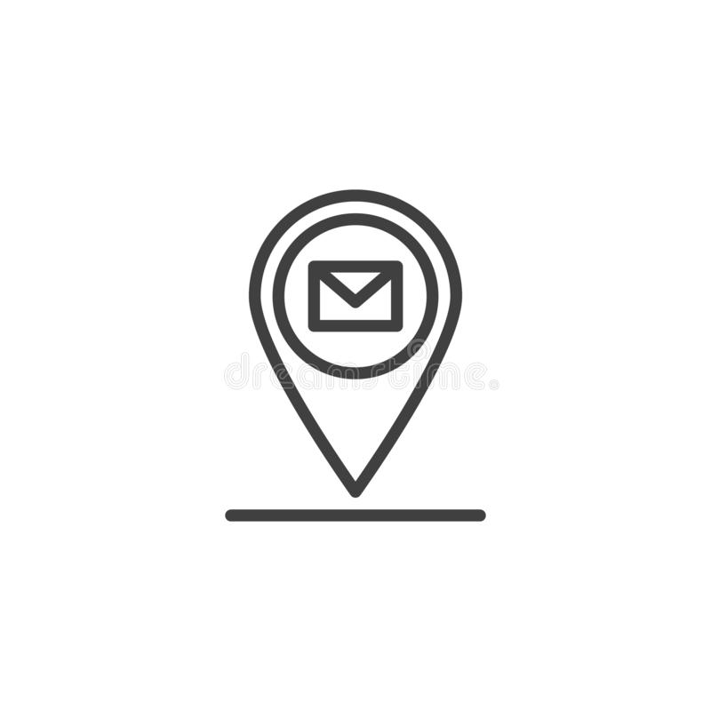 Mail location line icon. Post Office Marker linear style sign for mobile concept and web design. Envelope map marker outline vector icon. Symbol, logo vector illustration