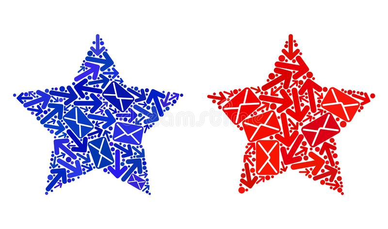 Mail Motion Collage Red Star Icons royalty free illustration