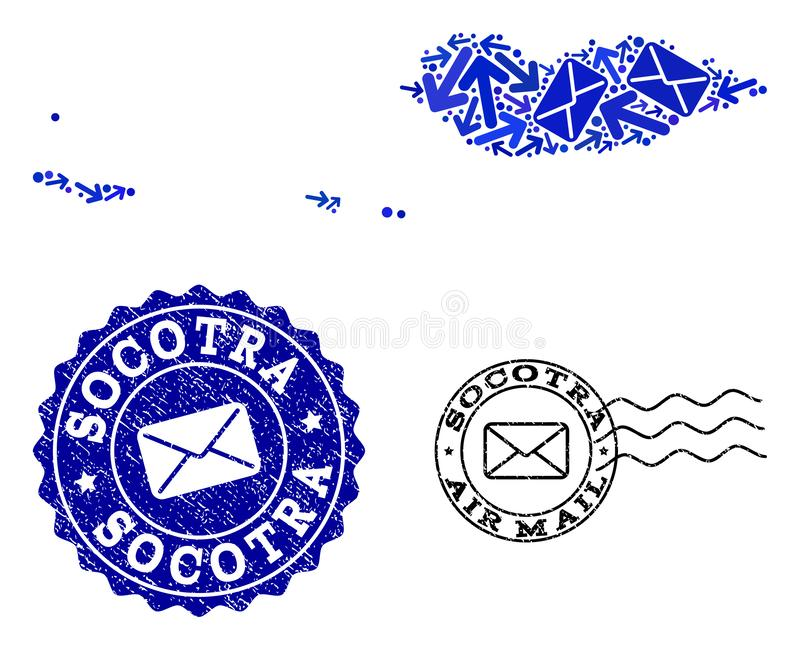 Mail Movement Collage of Mosaic Map of Socotra Archipelago and Scratched Seals. Mail composition of blue mosaic map of Socotra Archipelago and grunge stamps stock illustration