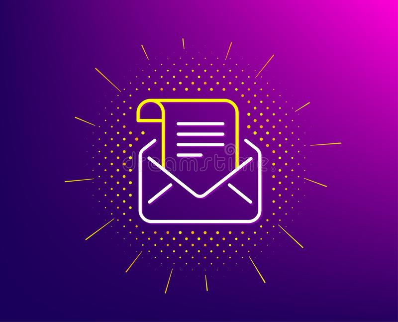 Mail newsletter line icon. Read Message correspondence sign. Vector. Mail newsletter line icon. Halftone pattern. Read Message correspondence sign. E-mail symbol royalty free illustration