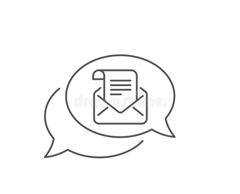 Mail newsletter line icon. Read Message correspondence sign. Vector. Mail newsletter line icon. Chat bubble design. Read Message correspondence sign. E-mail royalty free illustration