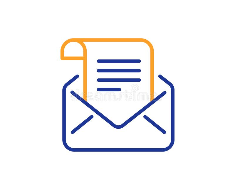 Mail newsletter line icon. Read Message correspondence sign. Vector. Mail newsletter line icon. Read Message correspondence sign. E-mail symbol. Colorful outline vector illustration