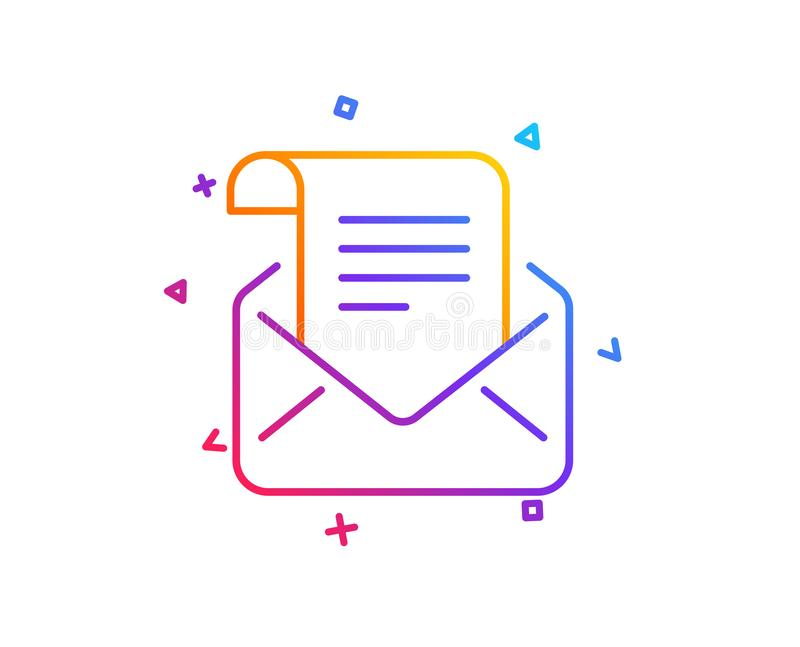Mail newsletter line icon. Read Message correspondence sign. Vector. Mail newsletter line icon. Read Message correspondence sign. E-mail symbol. Gradient line royalty free illustration