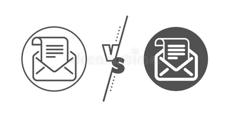 Mail newsletter line icon. Read Message correspondence sign. Vector. Read Message correspondence sign. Versus concept. Mail newsletter line icon. E-mail symbol vector illustration