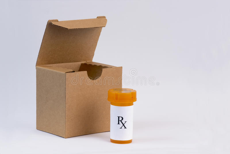 Mail Order Drugs. Mail order prescriptions with box and styrofoam peanuts. Labels are fictitious stock photo