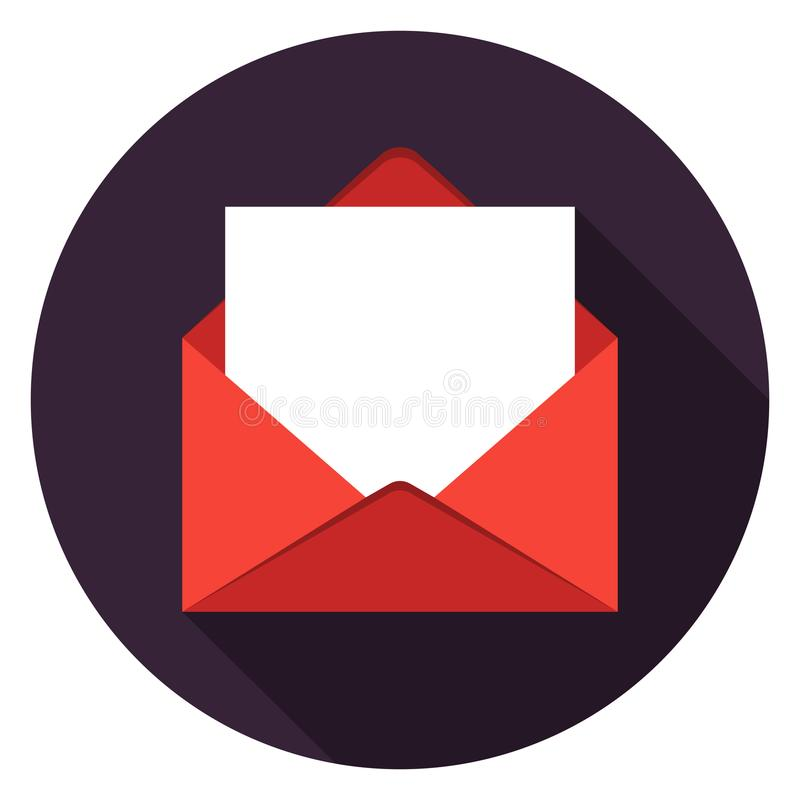 Mail with paper icon in flat design. vector illustration