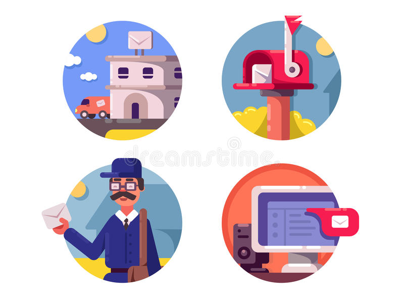 Mail post service icons vector illustration