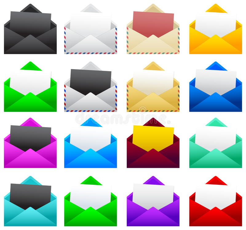 Mail postal envelope with a sheet of paper. Vector illustration collection set - eps available royalty free illustration