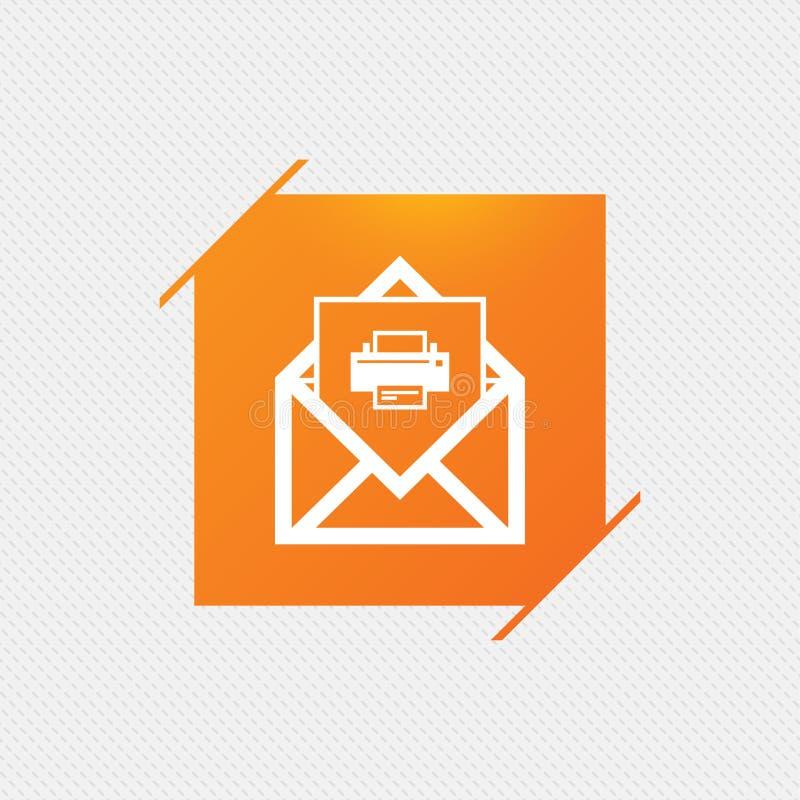 Mail print icon. Envelope symbol. Message sign. Mail navigation button. Orange square label on pattern. Vector vector illustration